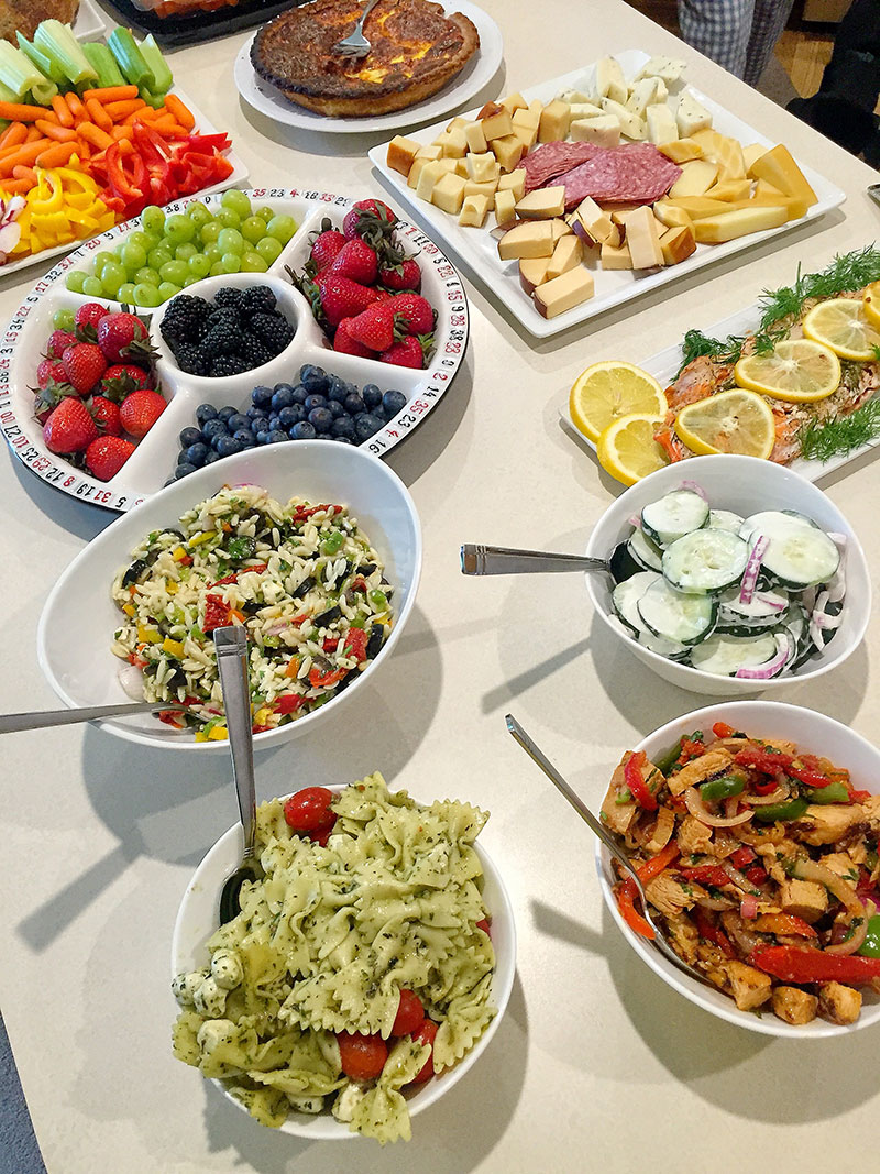 Game night buffet, buffet, healthy buffet, girls night buffet, game night, salads, fruit,