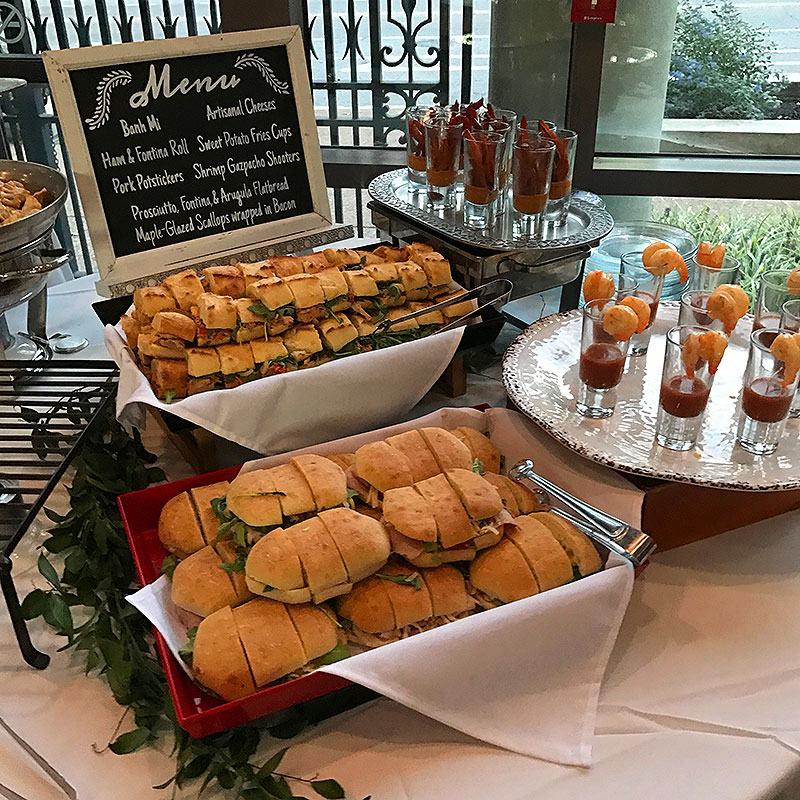 d'oeuvres, appetizers, wedding, weddings, wedding buffet, sandwiches, shrimp cocktails