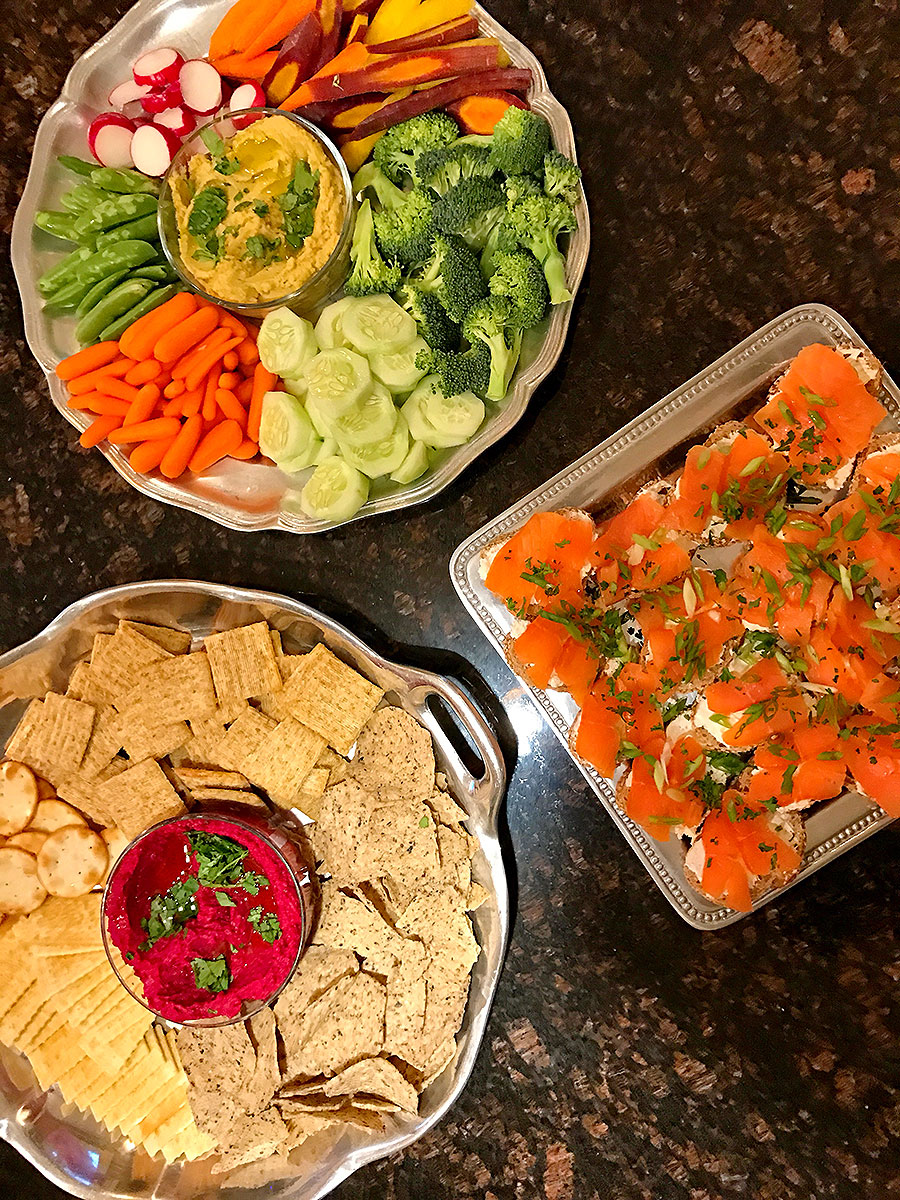 Hummus Dip, Veggie Plate, Smoked Salmon, Holiday Appetizers, Crackers, Holiday buffet, appetizer buffet,